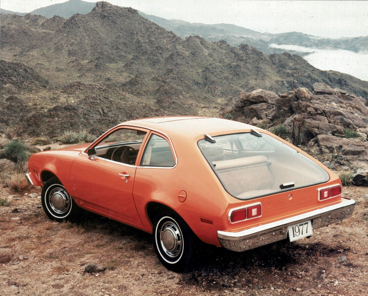 A two-door hatchback model of the Ford Pinto is shown in this 1976 photo.
