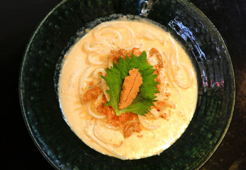 Sea urchin cream udon is one of the more creative noodle dishes offered.