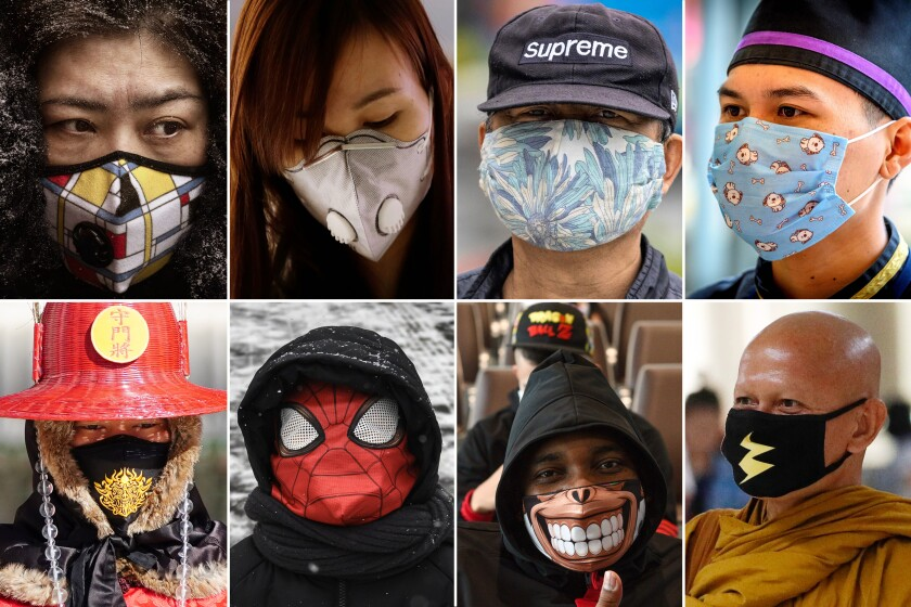 Eight people wearing masks with different designs, including Spider-Man, a toothy grin and a lightning bolt.