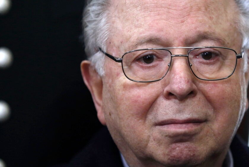 FILE - In this Nov. 11, 2015 file photo, Rev. Fernando Karadima sits in court before testifying in a sex abuse case that three of his victims brought against the country's Catholic Church in Santiago, Chile. Karadima died on Sunday, July 25, 2021, according to his death certificate. (AP Photo/Luis Hidalgo, File)