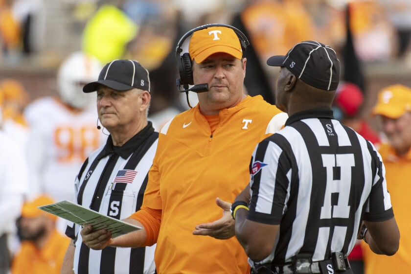 Tennessee head coach Josh Heupel argues a call in the fourth quarter of an NCAA college football game against Missouri Saturday, Oct. 2, 2021, in Columbia, Mo. Tennessee won 62-24.(AP Photo/L.G. Patterson)