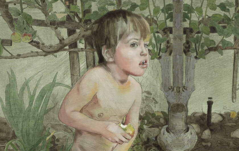 """A detail of """"First Bite,"""" a Patty Wickman painting on view at Lora Schleshinger Gallery."""