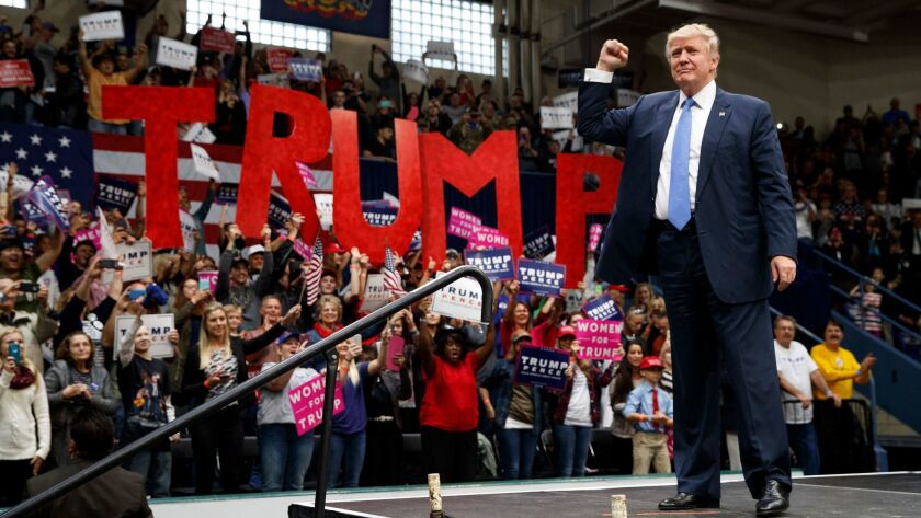 Donald Trump arrives to speak at a campaign rally in Johnstown, Pa. on Oct. 21. Trump was the first Republican presidential candidate to win Pennsylvania since 1988.