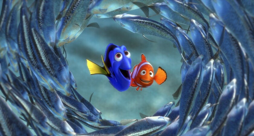 "A scene from the animated classic ""Finding Nemo."" Nemo's mother is eaten by a barracuda 4 minutes and 3 seconds into the film."
