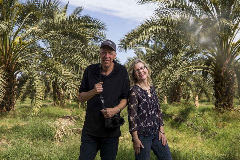Photographer Douglas McCulloh and novelist Susan Straight visit Brown Date Garden in Thermal, Calif.