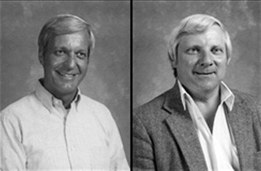 This photo provided by The Archdiocese of Milwaukee shows former priests John Wagner, left, and Daniel Budzynski, right. Wagner was accused of making advances to students at the University of Wisconsin-Sheboygan when he was in campus ministry in the 1980s. In 2003, the archbishop of Milwaukee wrote