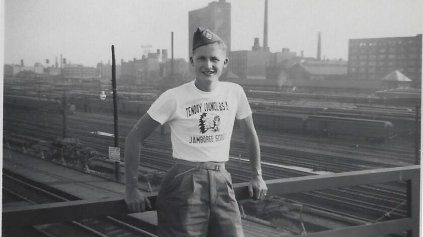 """Richard """"Dick"""" Preece, photographed in 1950, when he'd just finished high school, on his way to a National Jamboree event for the Boy Scouts of America. On Sept. 13, the Vista resident was honored by the organization for 75 years of continuous service."""