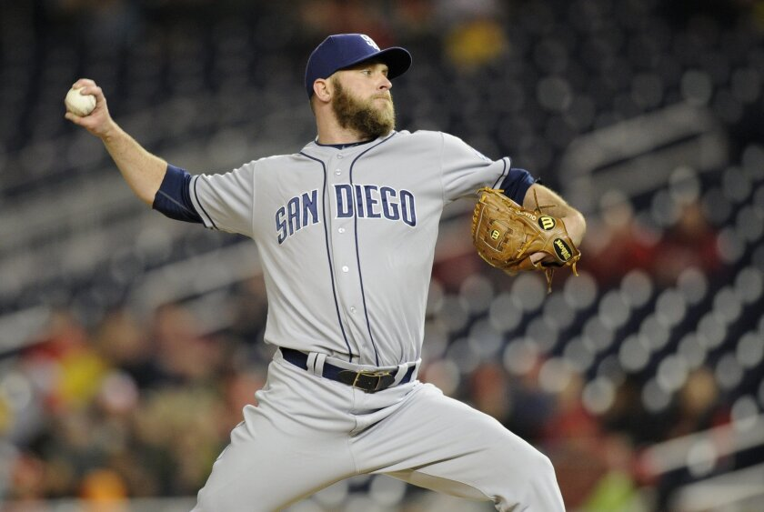 Rookie relief pitcher Kevin Quackenbush, a closer dating back to his college days, is moving back toward a late-inning role with the Padres. (AP Photo/Nick Wass)