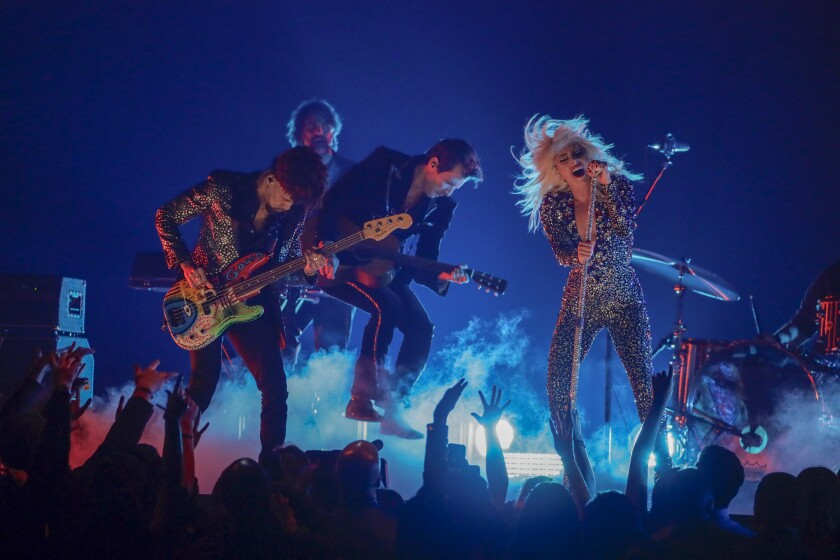 """Lady Gaga rocks out onstage at the Grammys performing """"Shallow."""""""