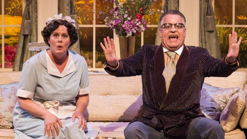 """Gina Torrecilla and Pat Towne in the Celebration Theatre production of """"Die, Mommie, Die!"""" at the Ki"""