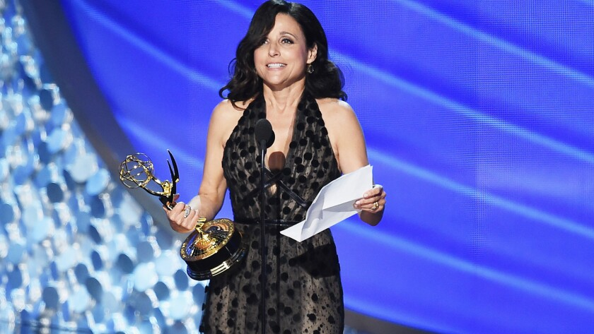 "Julia Louis-Dreyfus accepts the award for lead actress in a comedy series for ""Veep"" in 2016."