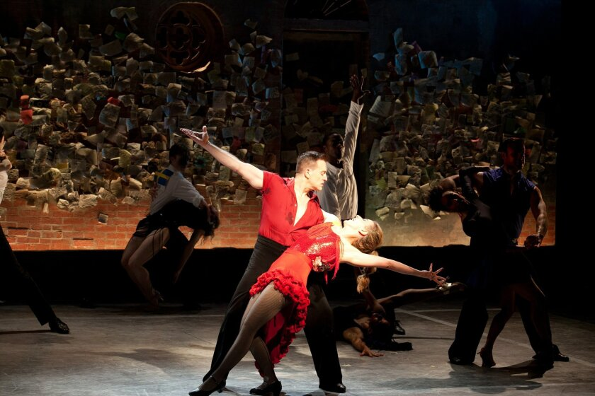 """A scene from the 2014 workshop production of """"In Your Arms,"""" which will have its world premiere next month at the Old Globe Theatre in San Diego."""