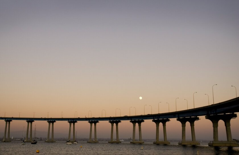 The curve and color of the San Diego-Coronado Bridge were the suggestions from consulting architect Robert Mosher.
