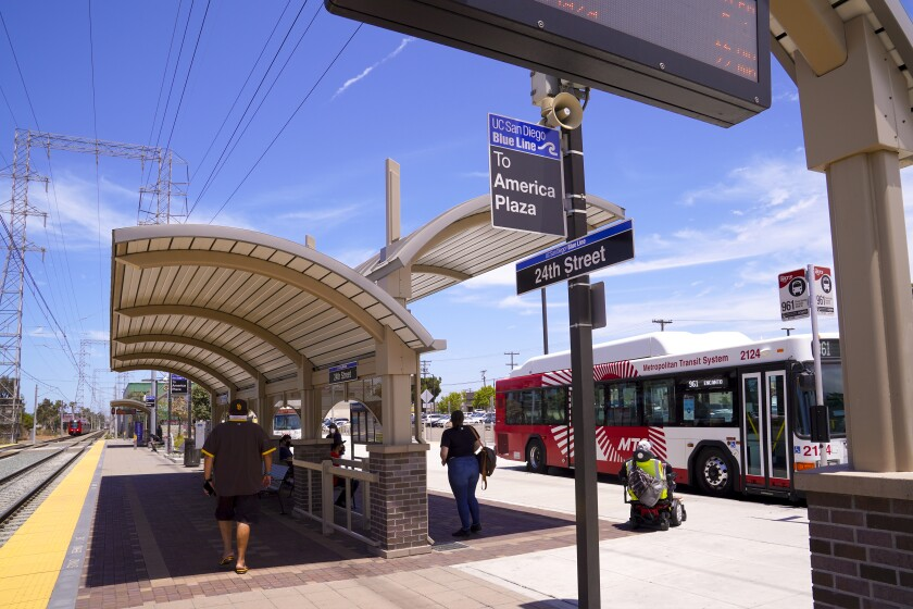 The 24th Street Transit Center in National City where the Blue Line Trolley and other bus routes meet.
