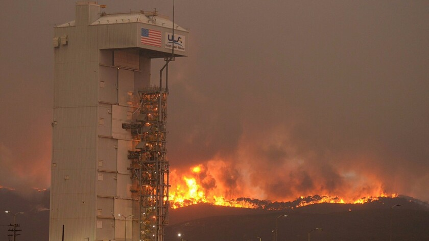 The Canyon fire burns at the Vandenberg Air Force Base on Monday. It's now 70% contained.