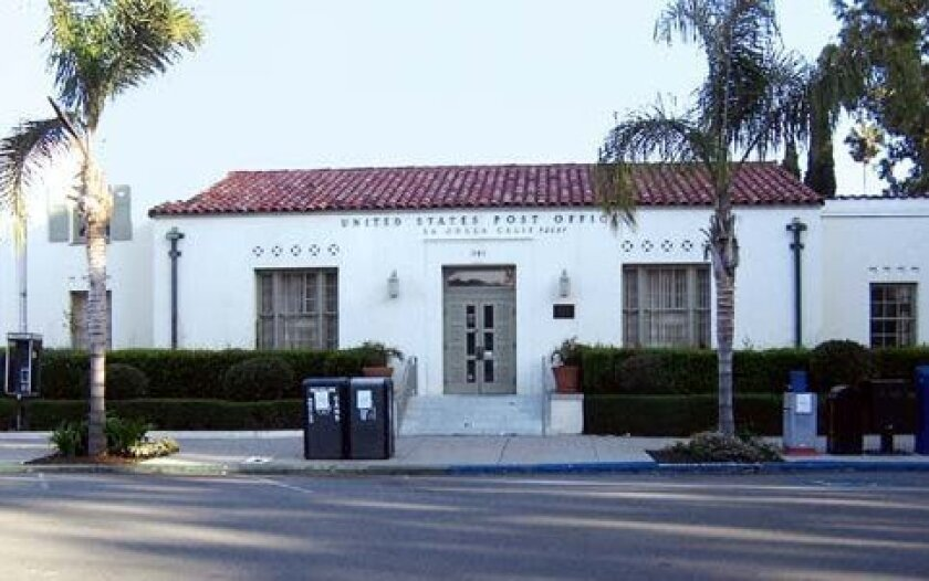La Jolla's Wall Street post office, now listed as a national historic landmark, awaits a similar designation from the City of San Diego. F