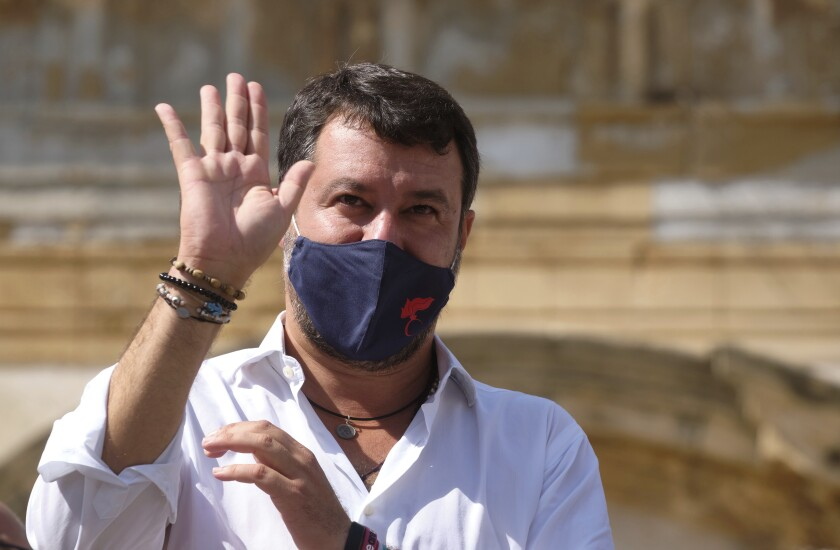 Former Interior Minister and Leader of League Party Matteo Salvini attends a party rally in San Giovanni La Punta, near Catania, Sicily, Fridayday, Oct. 12, 2020. Salvini next Saturday, Oct. 3 will be attending a preliminary hearing in Catania for allegedly blocking 131 migrants on board of a coast guard ship from disembarking for 5 days in July 2019. (Mauro scrobogna/LaPresse via AP)