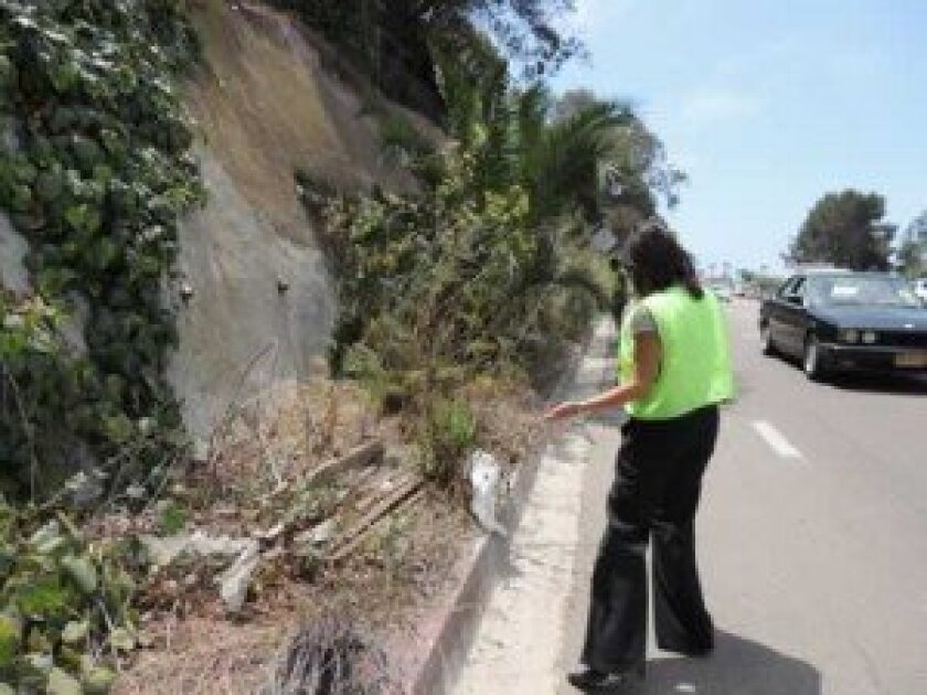 Sherry nooravi, of residents for Torrey Pines Safety, points to the curbside mess residents say should already be a sidewalk