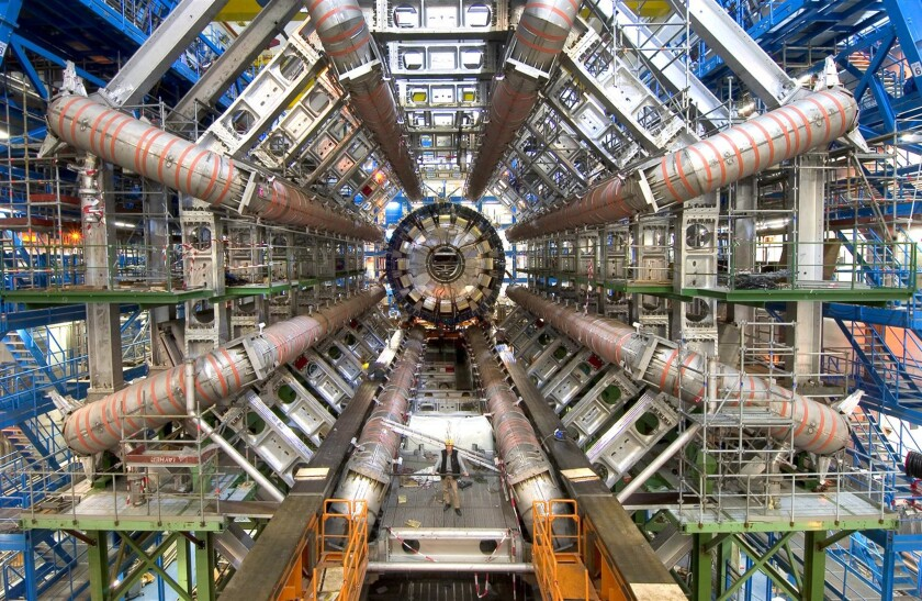 A portion of the Large Hadron Collider at CERN: Americans participated in its search for the Higgs boson, but the project was European-led.