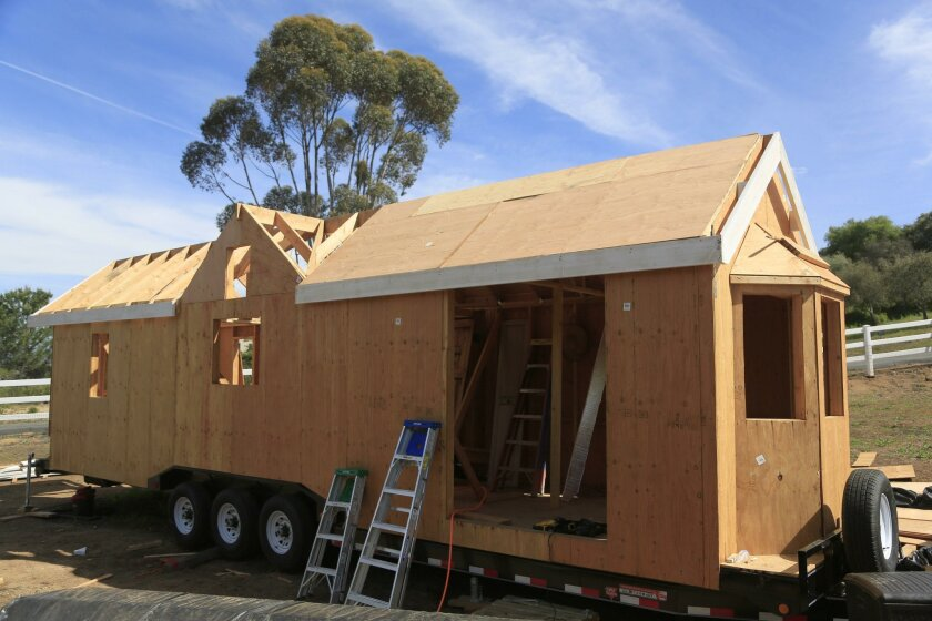 Janet Ashforth's tiny home is being built on a 38-foot trailer. She hopes to move it one day soon to Habitats, a community of tiny homes she plans to build in North County.