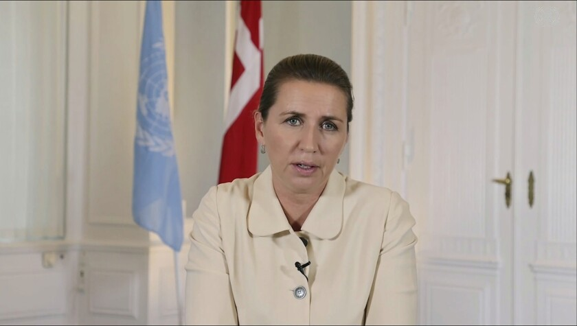 In this image made from UNTV video, Prime Minister Mette Frederiksen of Denmark speaks in a pre-recorded message that was played during the U.N. General Assembly, Sustainable Development Goals, at UN headquarters, Monday, Sept. 20, 2021. (UNTV via AP)