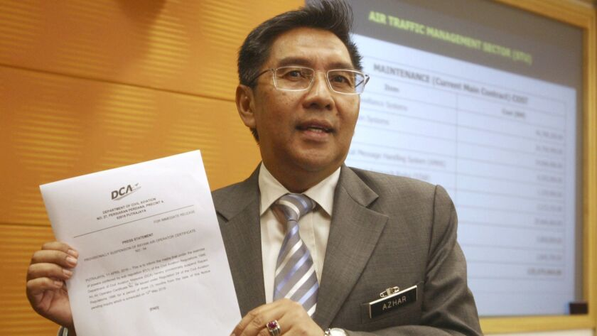 Azharuddin Abdul Rahman, chairman of Malaysia's Civil Aviation Authority, shown in April 2016, resigned Tuesday.