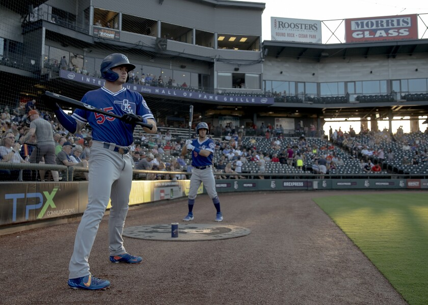 Oklahoma City shortstop Gavin Lux (55) readies to leadoff a Class AAA Pacific Coast League baseball game against Round Rock on Friday, Aug. 16, 2019, in Round Rock, Texas.