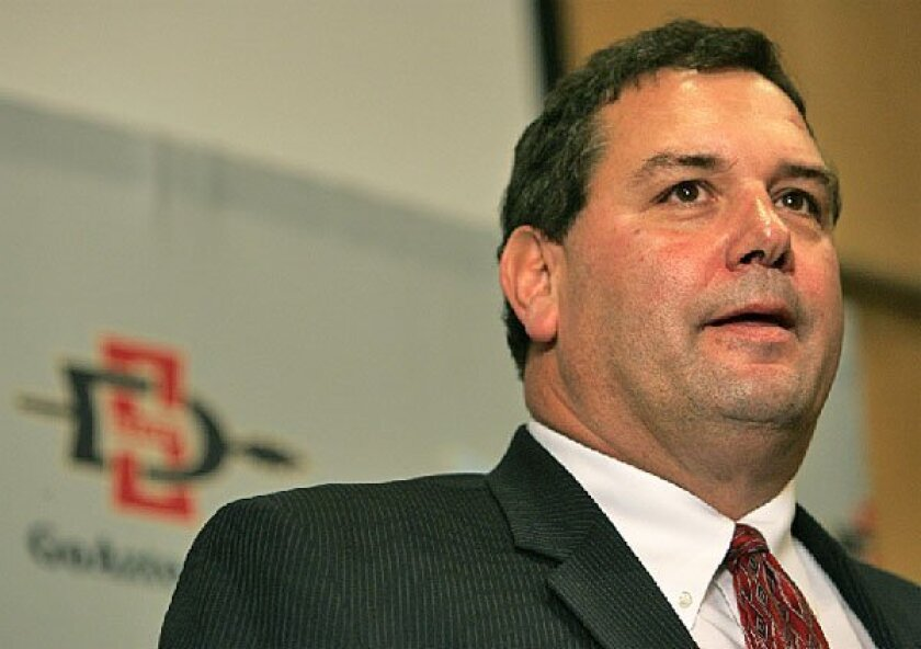 Brady Hoke, the 17th head coach in Aztecs football history, was introduced to his players and the media yesterday. (Earnie Grafton / Union-Tribune)