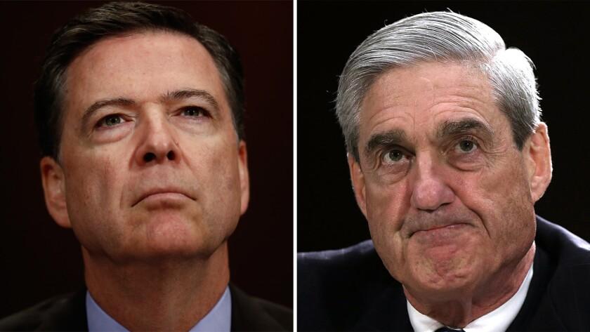 Former FBI directors James B. Comey, left, and Robert S. Mueller III.