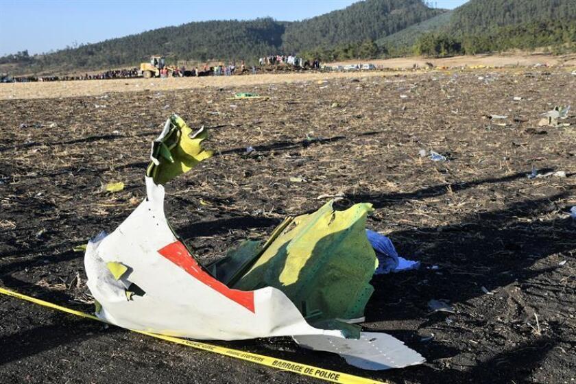 Wreckage lies at the crash site of Ethiopia Airlines Boeing 737 Max 8 en route to Nairobi, Kenya, near Bishoftu, Ethiopia, 10 March 2019. EFE/EPA/STR