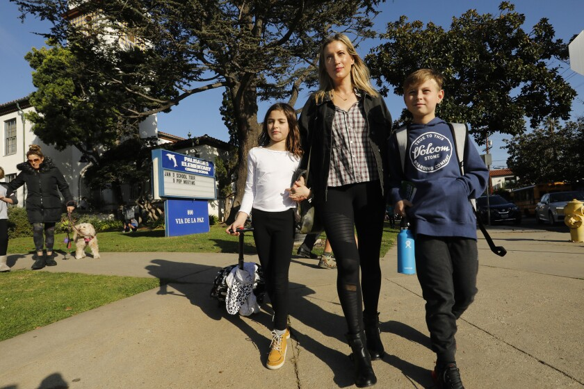 LOS ANGELES, CALIFORNIA--JAN. 9, 2019--Shannon Soller picks up her children from Pacific Palisades C