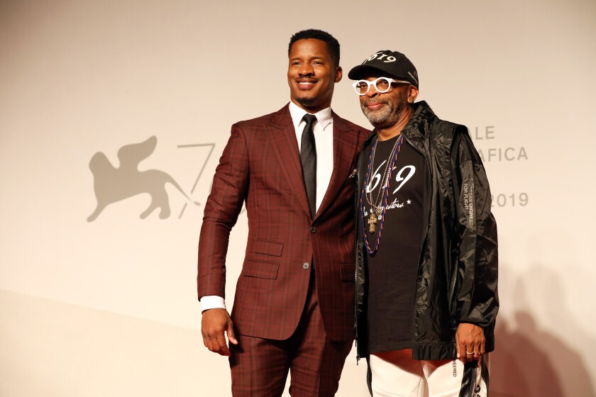 "Nate Parker and Spike Lee at the ""American Skin"" red carpet for the 76th Venice Film Festival."