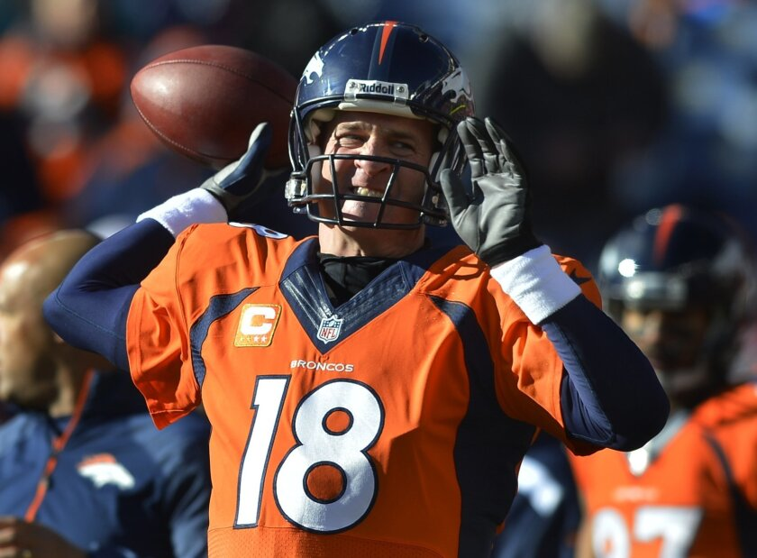 Denver Broncos quarterback Peyton Manning warms up before playing against the San Diego Chargers in an NFL AFC division playoff football game, Sunday, Jan. 12, 2014, in Denver. (AP Photo/Jack Dempsey)