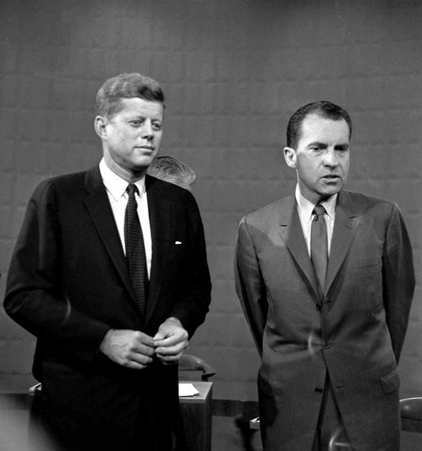 John F. Kennedy and Richard M. Nixon shown after their Sept. 26, 1960, debate.