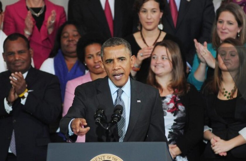 President Obama speaks at Faneuil Hall in Boston on the implementation of the Affordable Care Act.