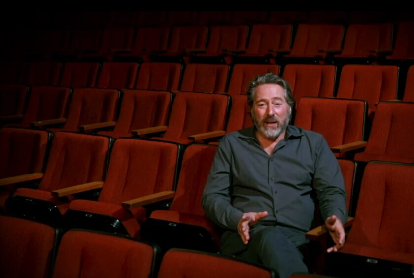 David Ellenstein, artistic director of North Coast Repertory Theatre in Solana Beach, speaks via zoom to patrons last May.