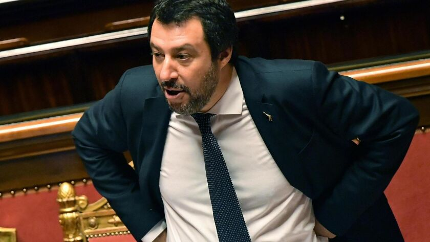 Minister Matteo Salvini speaks at Lower Chamber of Italian Parliament, Rome, Italy - 13 Jun 2018