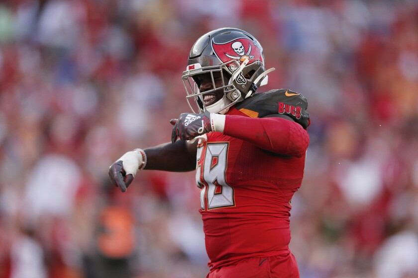 The Buccaneers' Shaquil Barrett celebrates a sack against the Giants on Sept. 22, 2019.