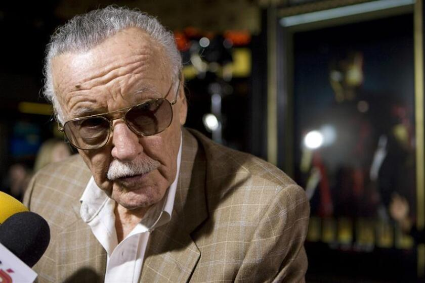 "Photo taken April 30, 2008, showing Marvel Comics' iconic creator of comic superheroes Stan Lee at the screening of the film ""Ironman"" at Grauman's Chinese Theatre in Hollywood, California. Lee died on Nov. 12, 2018, in Los Angeles. EFE-EPA/FILE/ADRIAN SANCHEZ GONZALEZ"