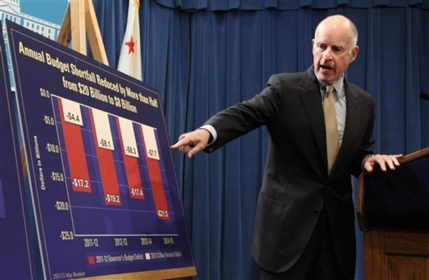 Gov. Jerry Brown points to a chart showing how his budget plans will eventually reduce the budget deficit over the next few years  as he discusses his revised state budget plan during a Capitol news conference in Sacramento, Calif., Monday,  May 14, 2012.  Brown said the budget shortfall swelled fr