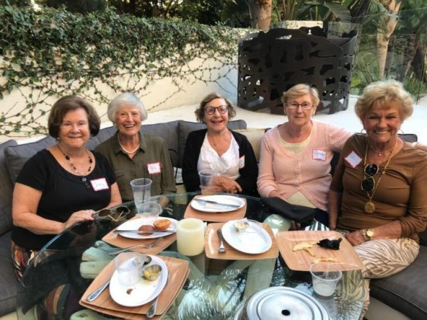 La Jolla Newcomers Club members Ginny Deardorff, Mary Bradbury, Marie-Louise Cheyette, Frieda de Weve and Shirley Harper relax during a happy hour gathering at La Jolla Hotel.