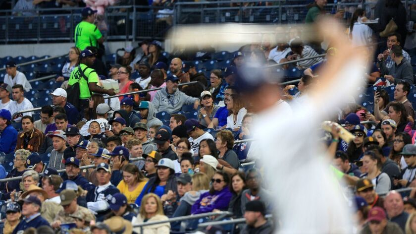 Fans watch as the Padres take on the Colorado Rockies at Petco Park.