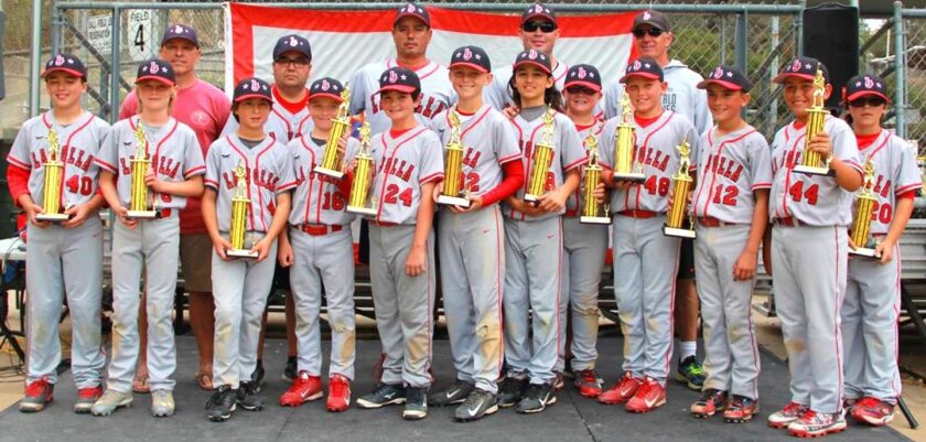 La Jolla Youth Baseball's Mustang Red (10U) Tournament Champions with coaches Larry Deatherage, Manuel Labra, Mike Campagna, Justin McKeown and Tyler Lawton