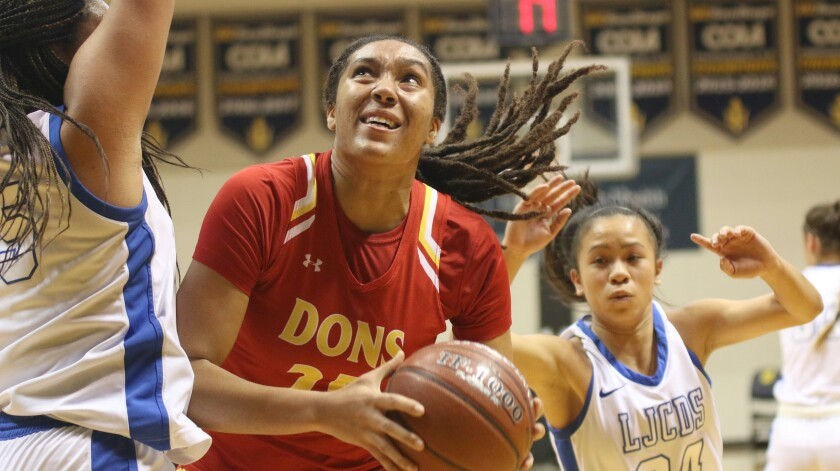 """Isuneh (""""Ice"""") Brady topped Cathedral Catholic in points and rebounds."""