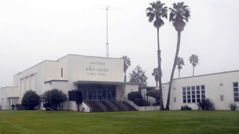 John Adams Middle School in Santa Monica reopened Monday after crews sanitized surfaces in the school in an effort to eradicate any traces of a gastrointestinal virus that sickened some students las