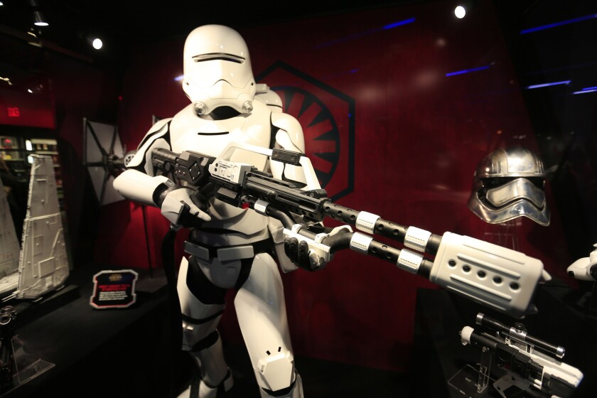 """A view of a flame trooper, a special Stormtrooper of the First Order in Launch Bay, in Tomorrowland at Disneyland. An entire section of the StarWars.com website is devoted to """"Star Wars""""-inspired recipes, including one for Stormtrooper butter."""