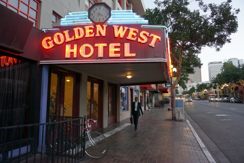 April 17, 2015_The historic Golden West Hotel in the Gaslamp  is one of a shrinking stock of low-cost residential hotels available to the nearly homeless. Alma Cesena / U-T
