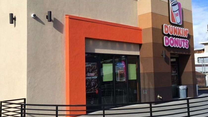 Dunkin' Donuts is returning to San Diego County in a big way, starting with a new outlet in National City that is opening in December. (Courtesy of Burton Restaurants)