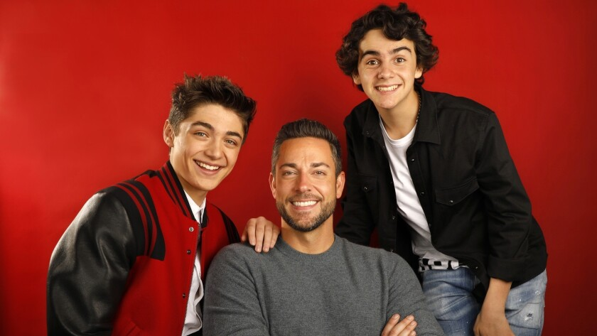 LOS ANGELES, CALIFORNIA--MARCH 22, 2019--Asher Angel, Zachary Levi, and Jack Dylan Grazer star in th