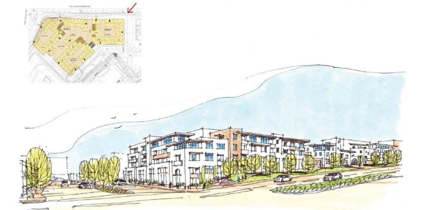 A rendering shows a view of the new One Paseo from Del Mar Heights Road. Courtesy illustration